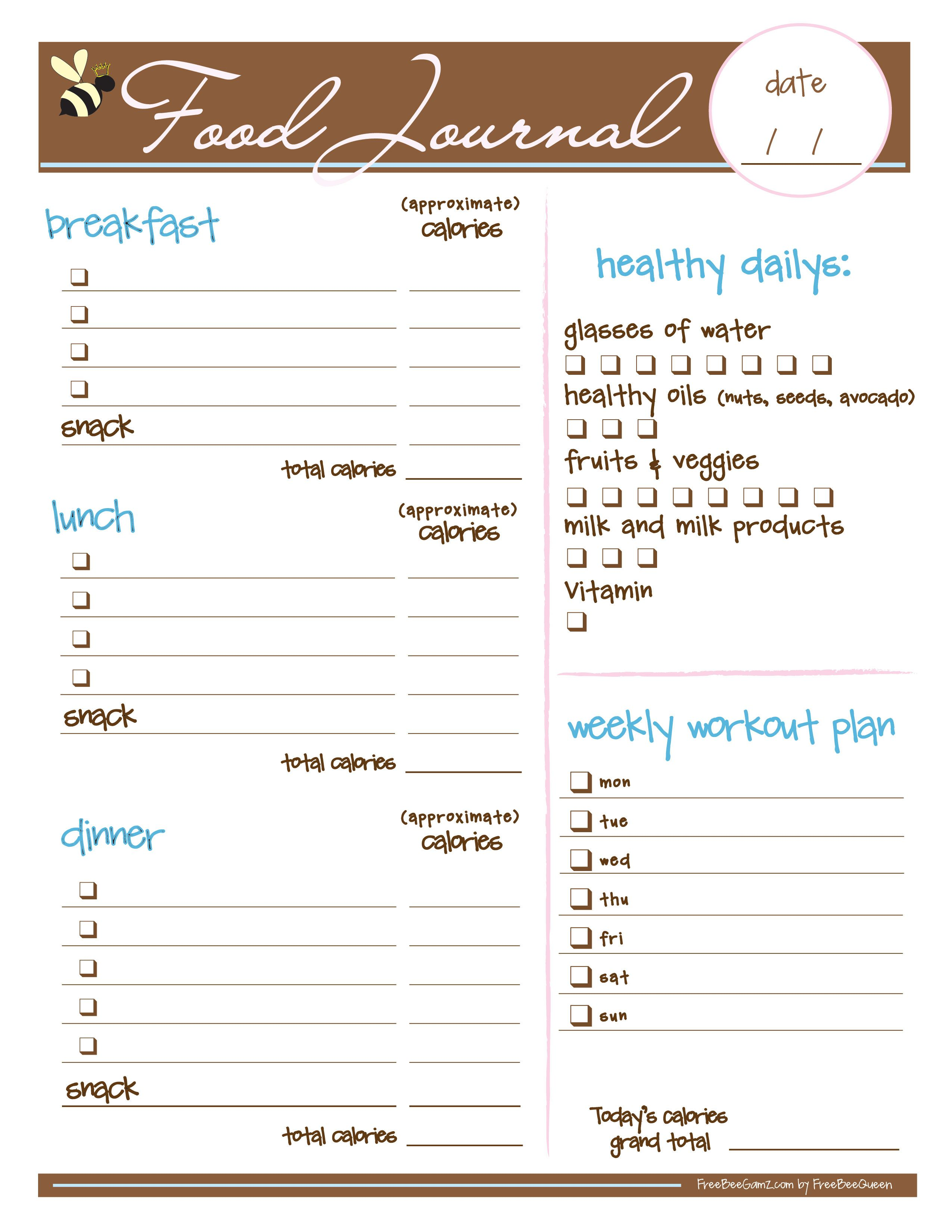 Free Food Journal I Love This I Just Printed It And It Looks Like It Is Going To Be A Big