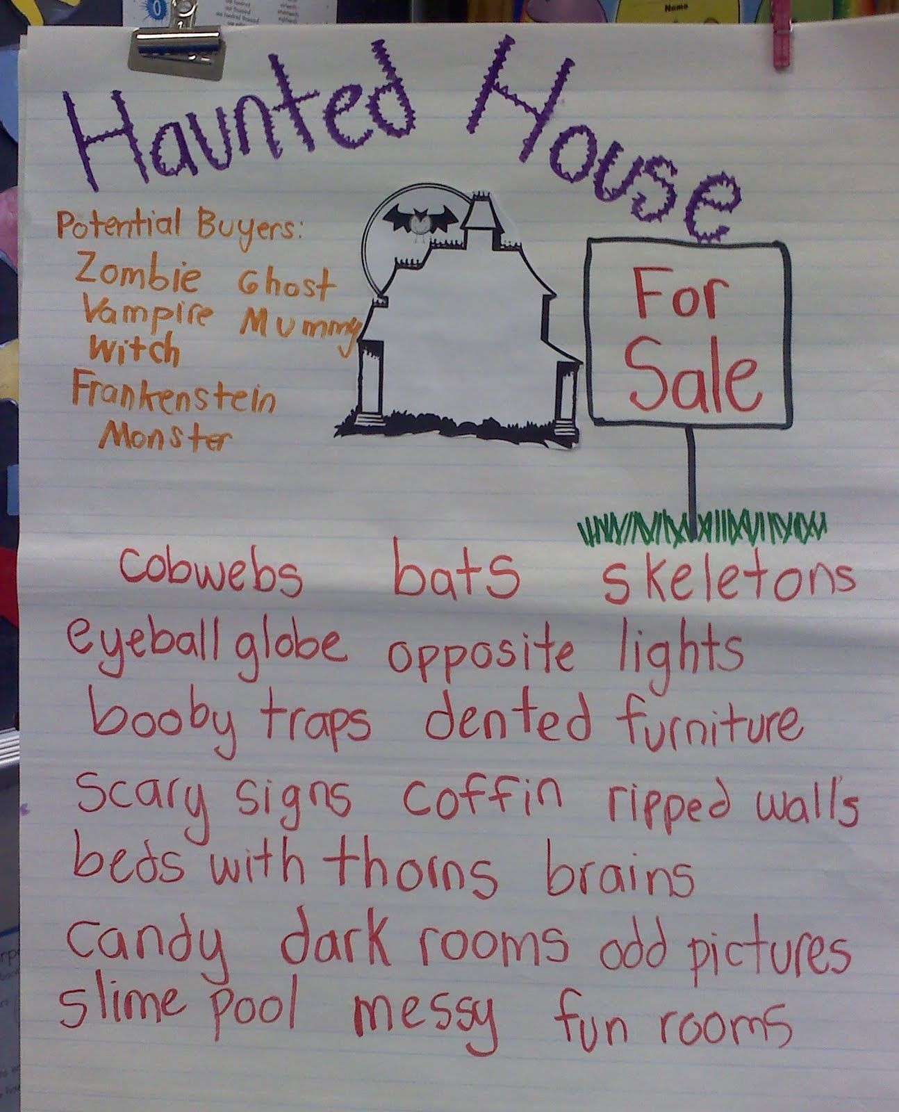 This Teacher Used My Haunted House For Sale Writing Packet With Her Class And Shared Her Chart