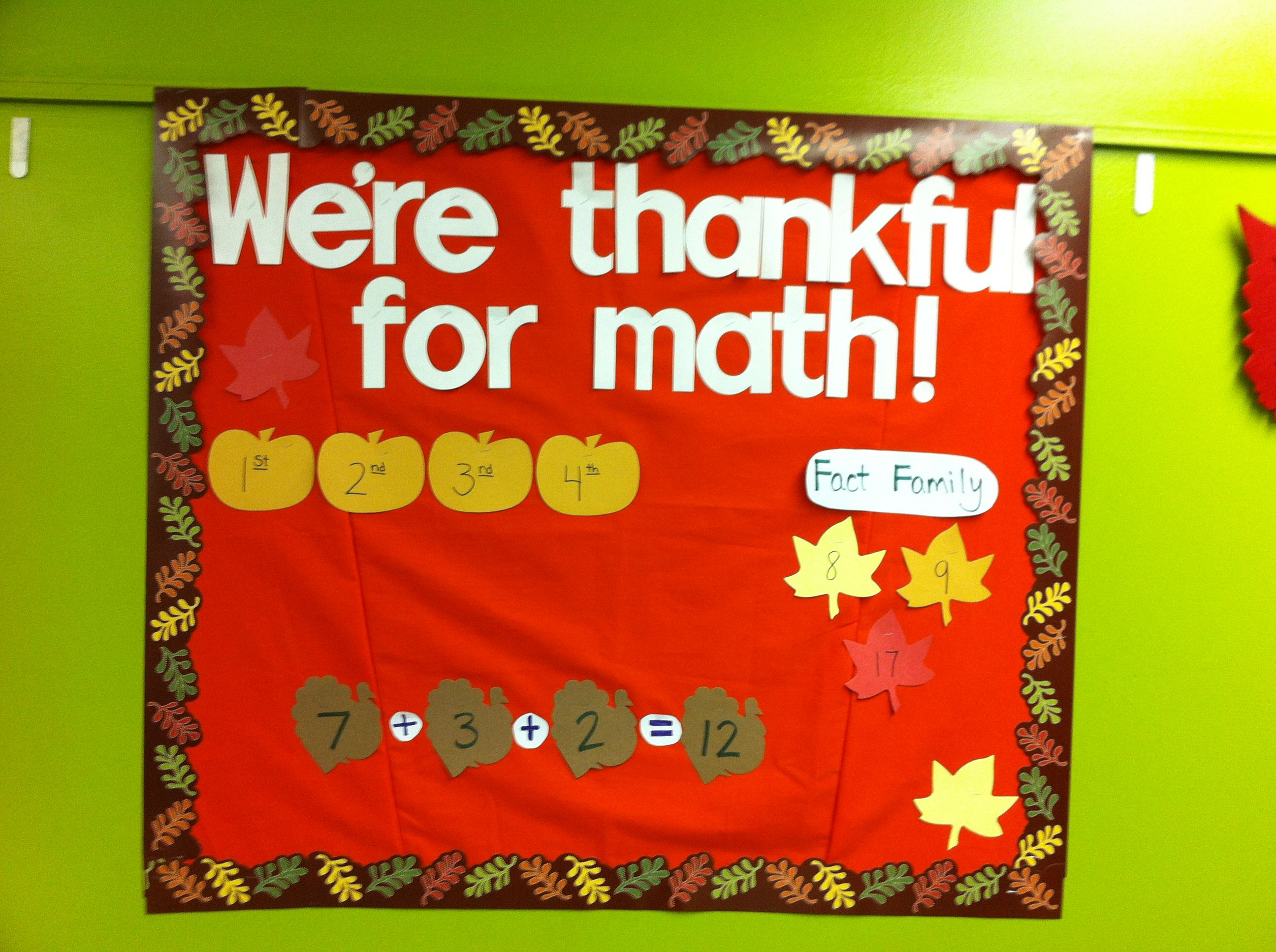 Thanksgiving Math Bulletin Board Idea They Used Ctp S