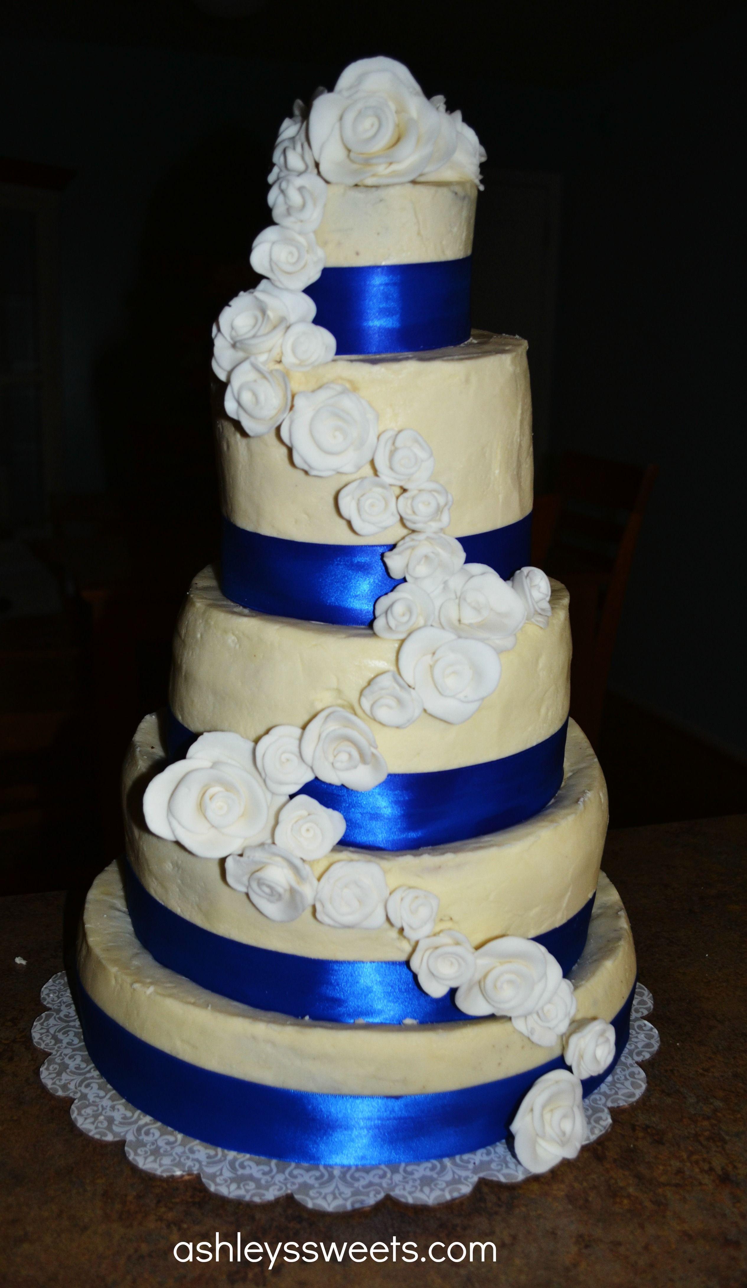 Royal Blue And Lime Green Wedding Cake