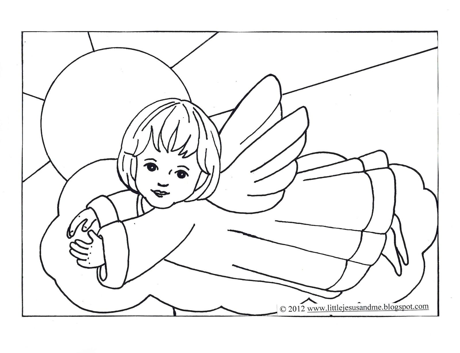 Little Jesus And Me Angel Coloring Page