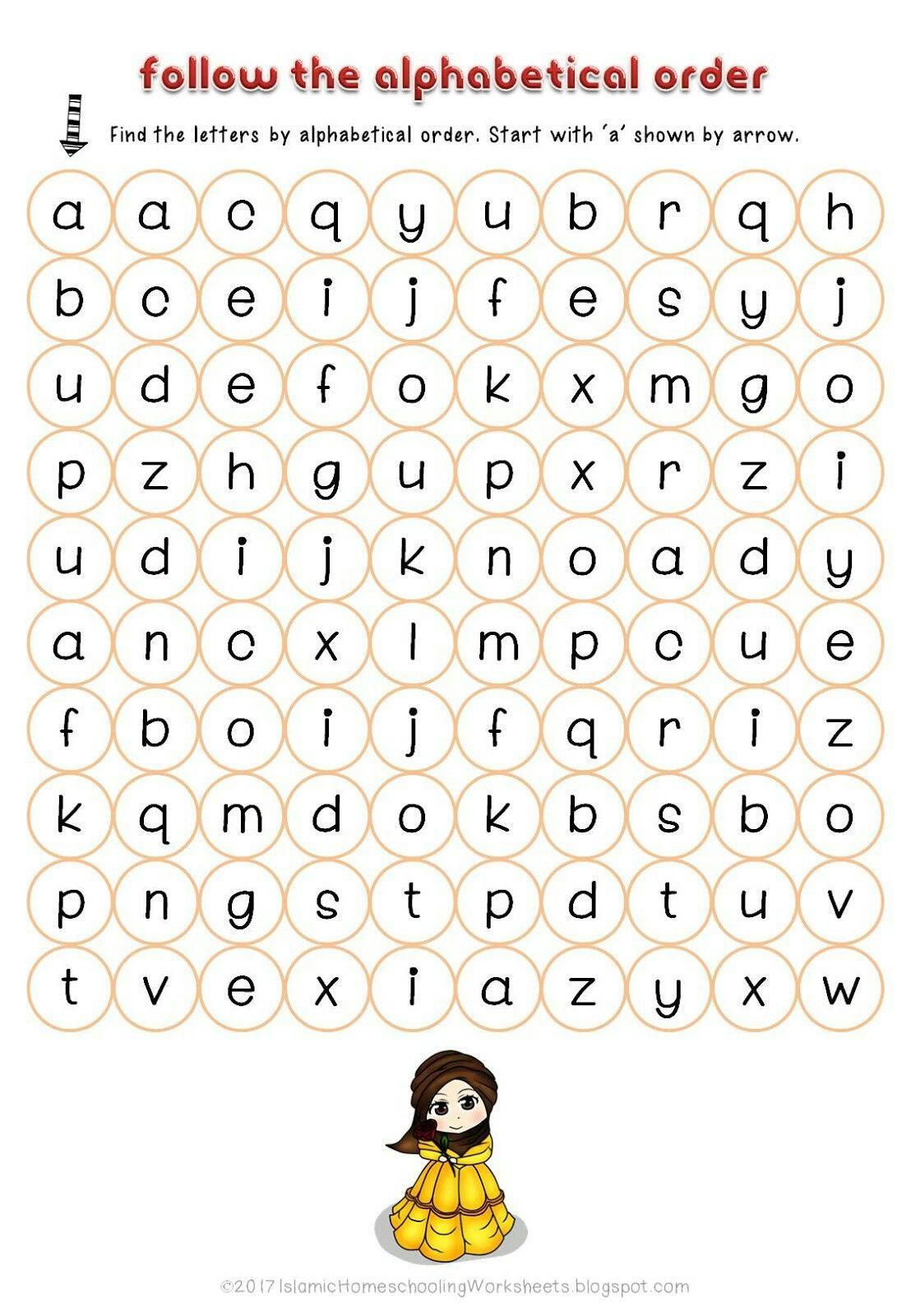 Follow The Alphabetical Order In Free Disney Princess