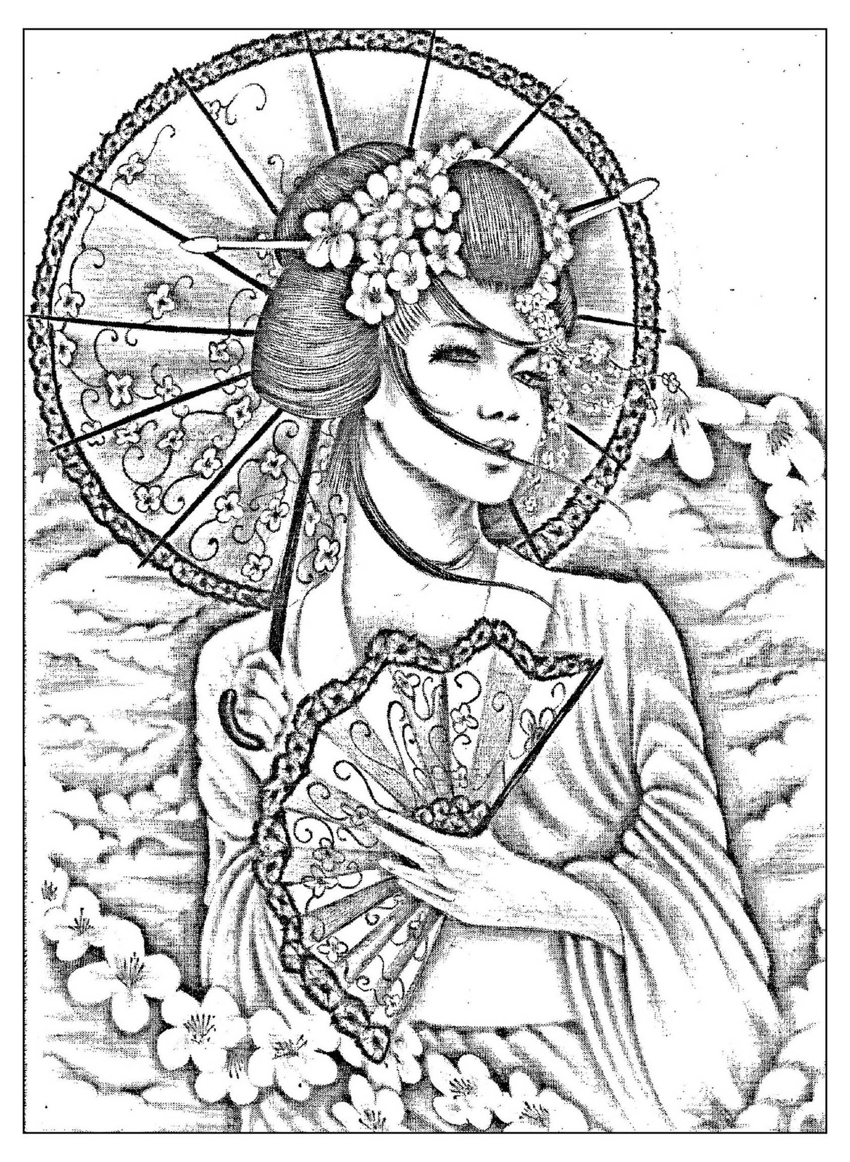 Free Coloring Page Coloring Geisha Japan Tatoo A Beautiful Black Amp White Drawing Of A Japonese