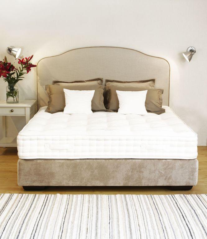 Rebecca Continental Bed In Beige Linen Heavens Natural Material Mattress Woolmattress