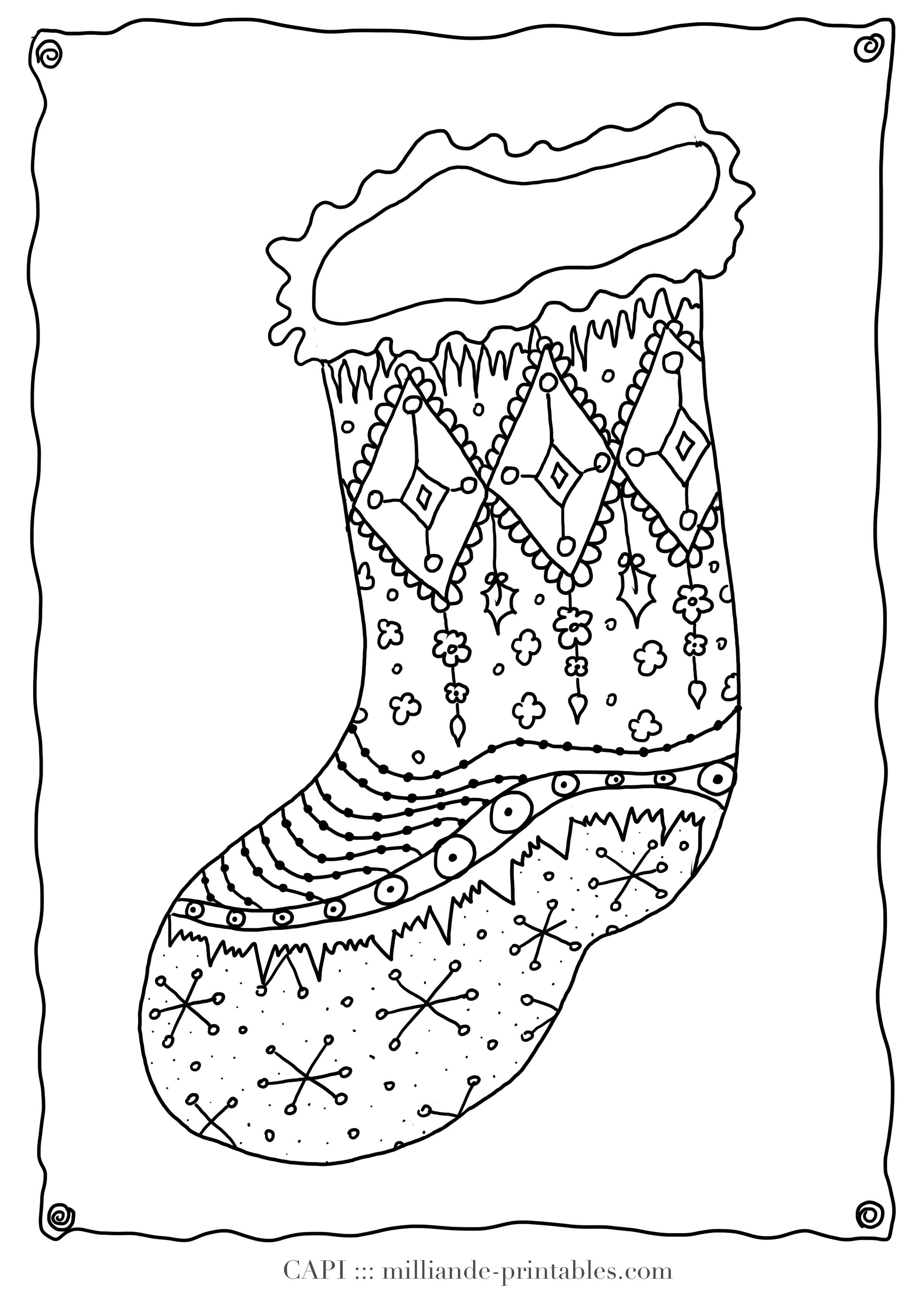 Cute Christmas Stocking Colouring Page For Kids From Our Free Christmas Colouring Sheets With
