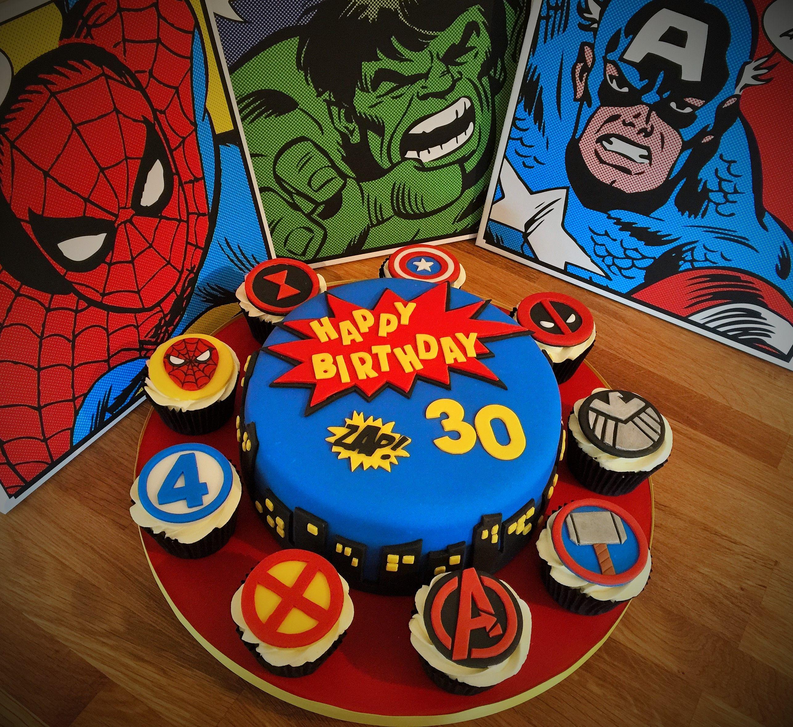 Marvel Superhero Cake And Cupcakes 30th Birthday