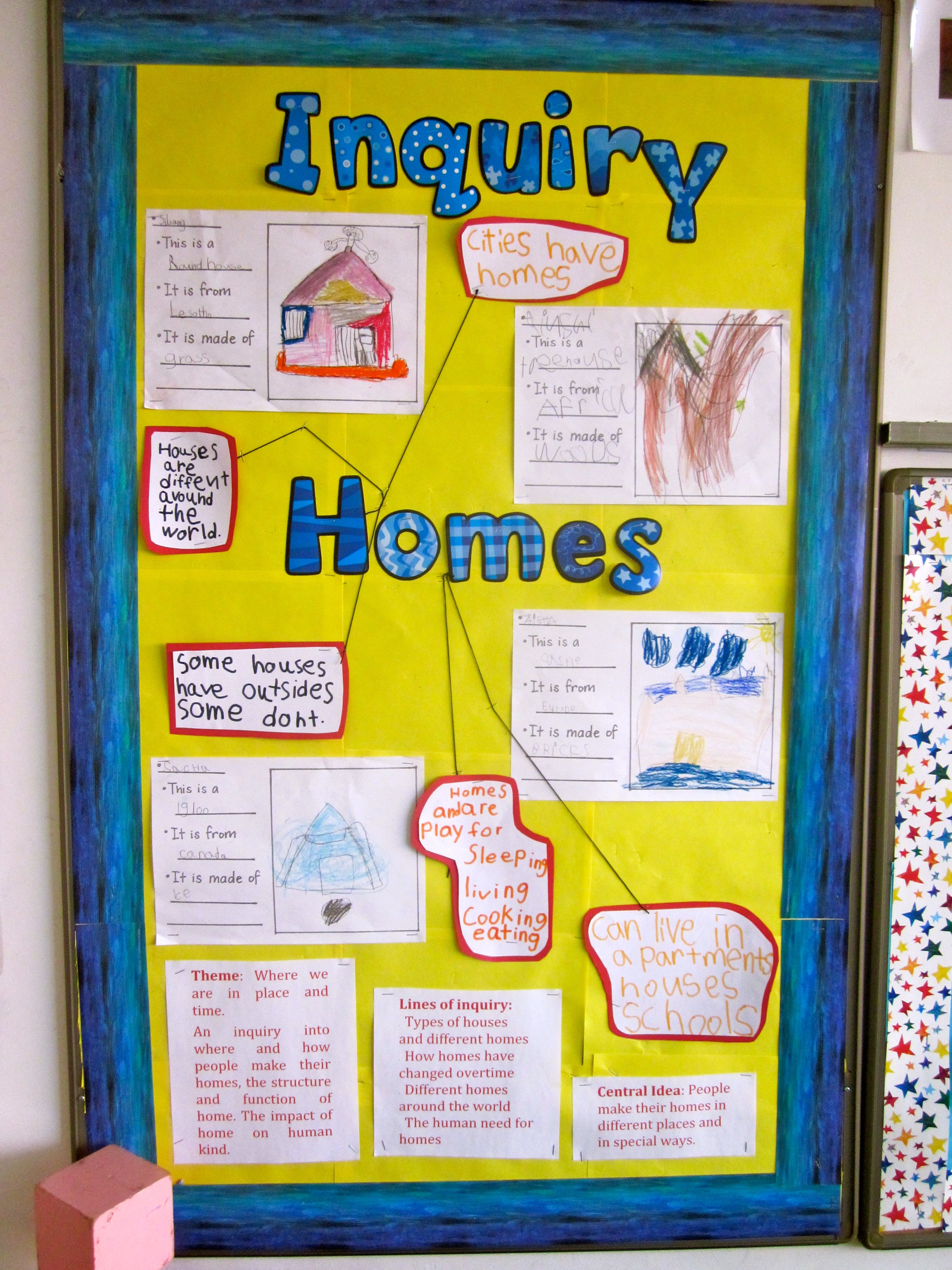 Pyp Kindergarten Made Board For Inquiry Into Homes Around
