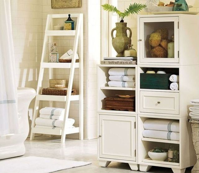 Another storage idea for large wall in master bath