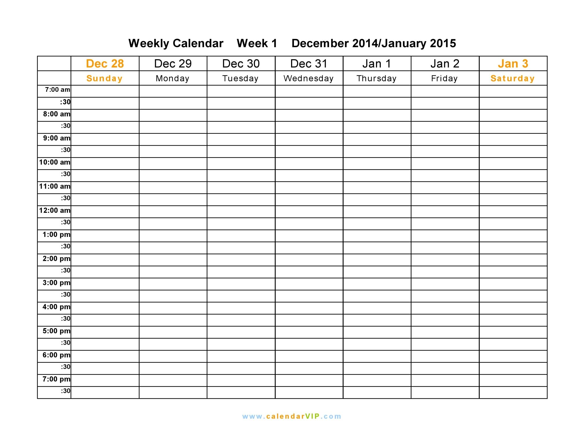 Free Printable Weekly Calendar Templates