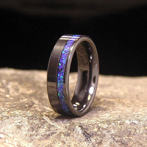Blue Amethyst Lab Opal Wide Offset Inlay Black Zirconium