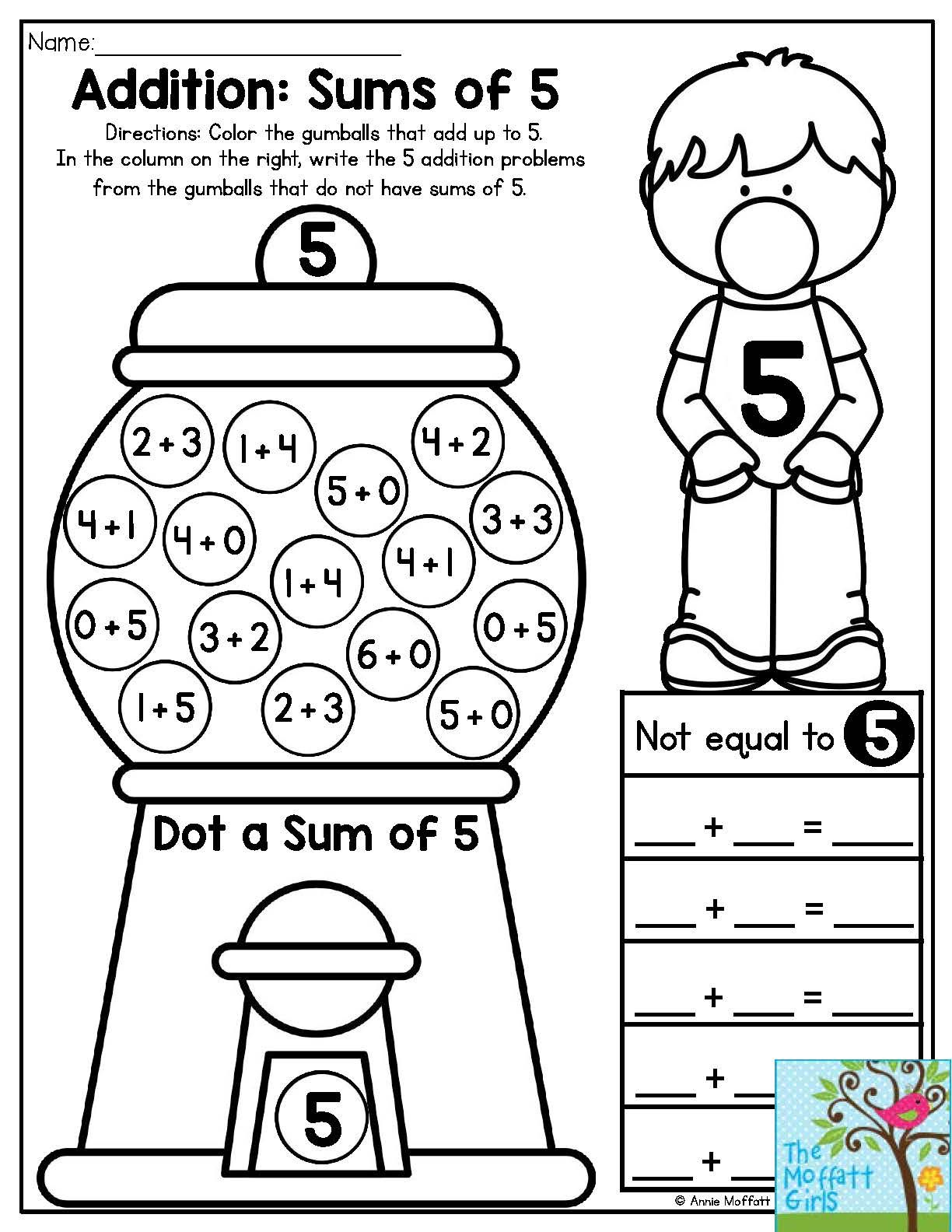 Bubble Gum Numbers Addition Sums Of 5 Color The