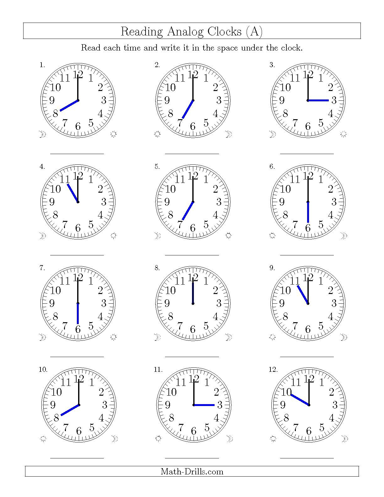 The Reading Time On 12 Hourog Clocks In One Hour