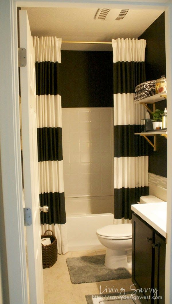 Savvy Design Tip Extra Long Shower Curtains From Living Savvy Bathrooms Pinterest