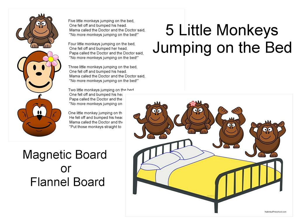 Five Little Monkeys Jumping On The Bed Flannel Board Or