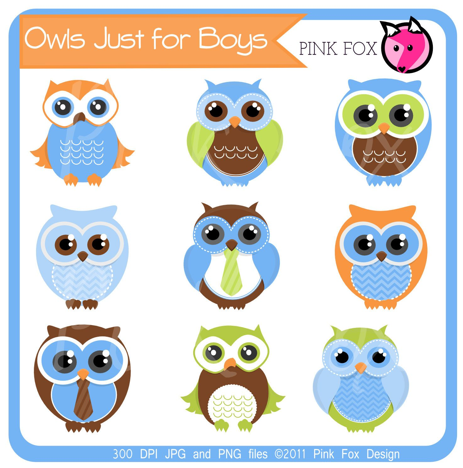 Instant Download Boys Owl Clipart For Personal And Commercial Use