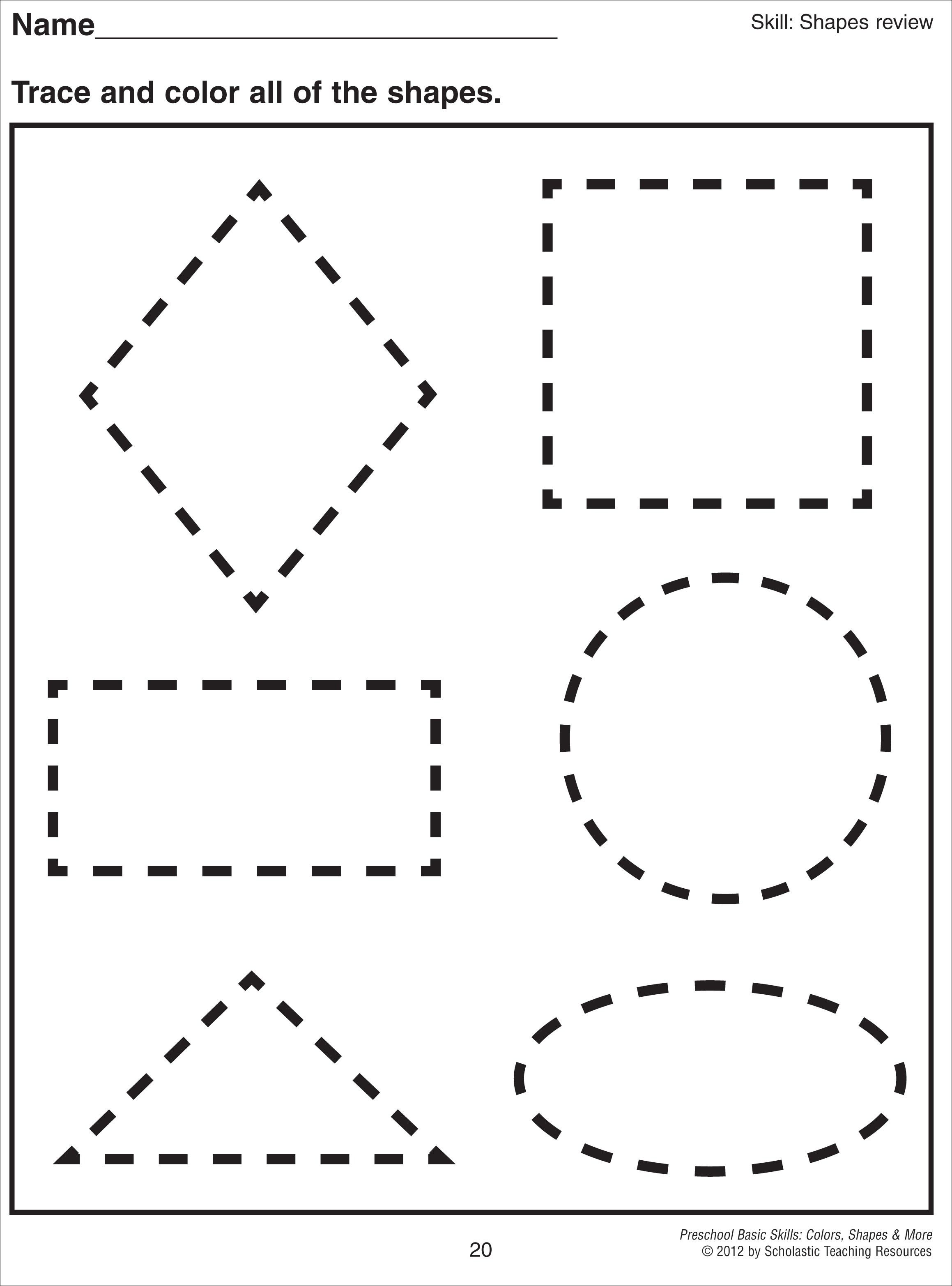 Math Worksheet Images About Preschool Shapes Shape Shape Pre K Tracing