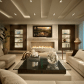 Lovely ivory living room with beautiful lighting and fireplace