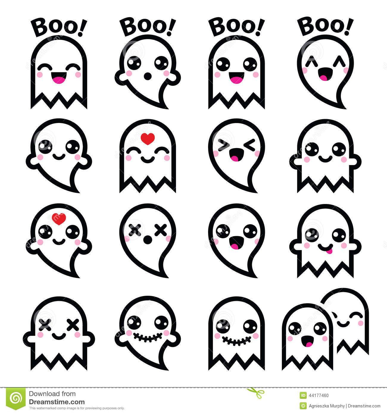 Kawaii Cute Ghost Halloween Icons Set Vector Character