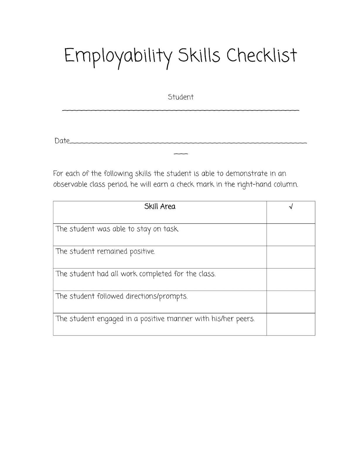 Sped Head Employability Skills Checklist