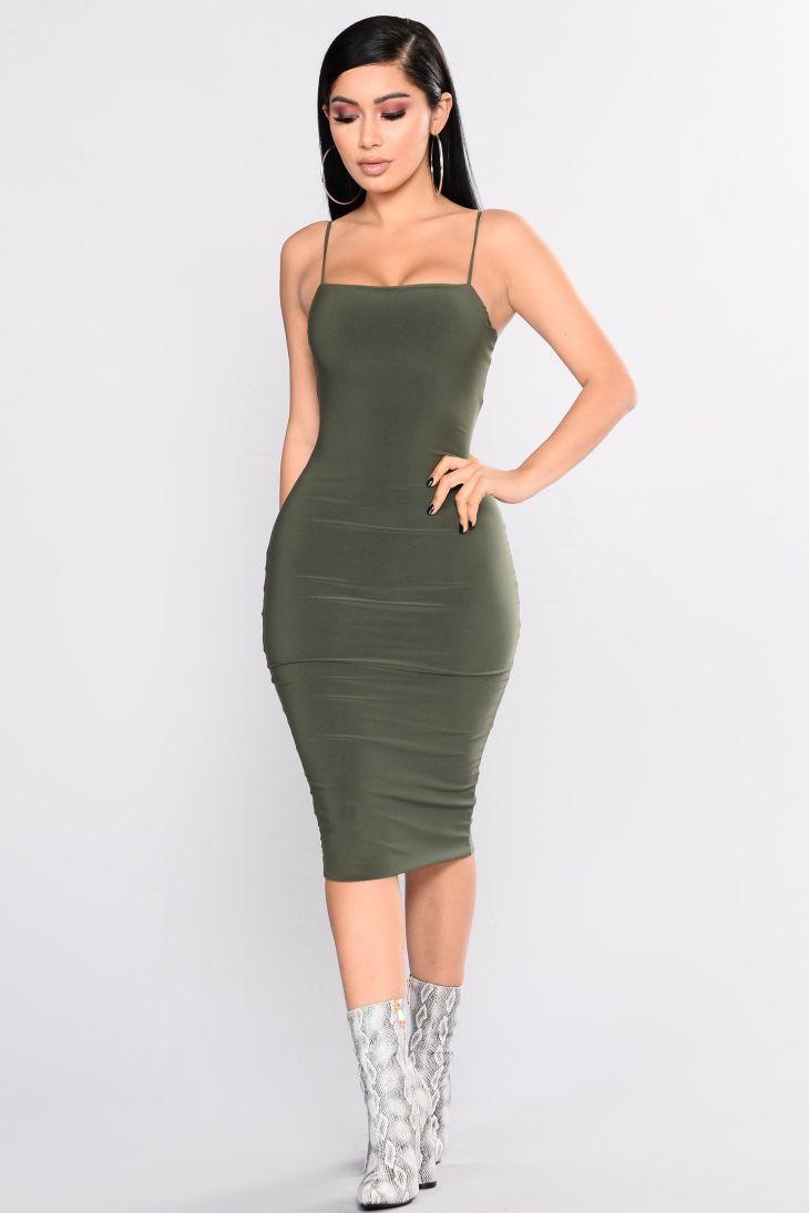 Nova Babe Dress Olive Tank dress Clothes and Black