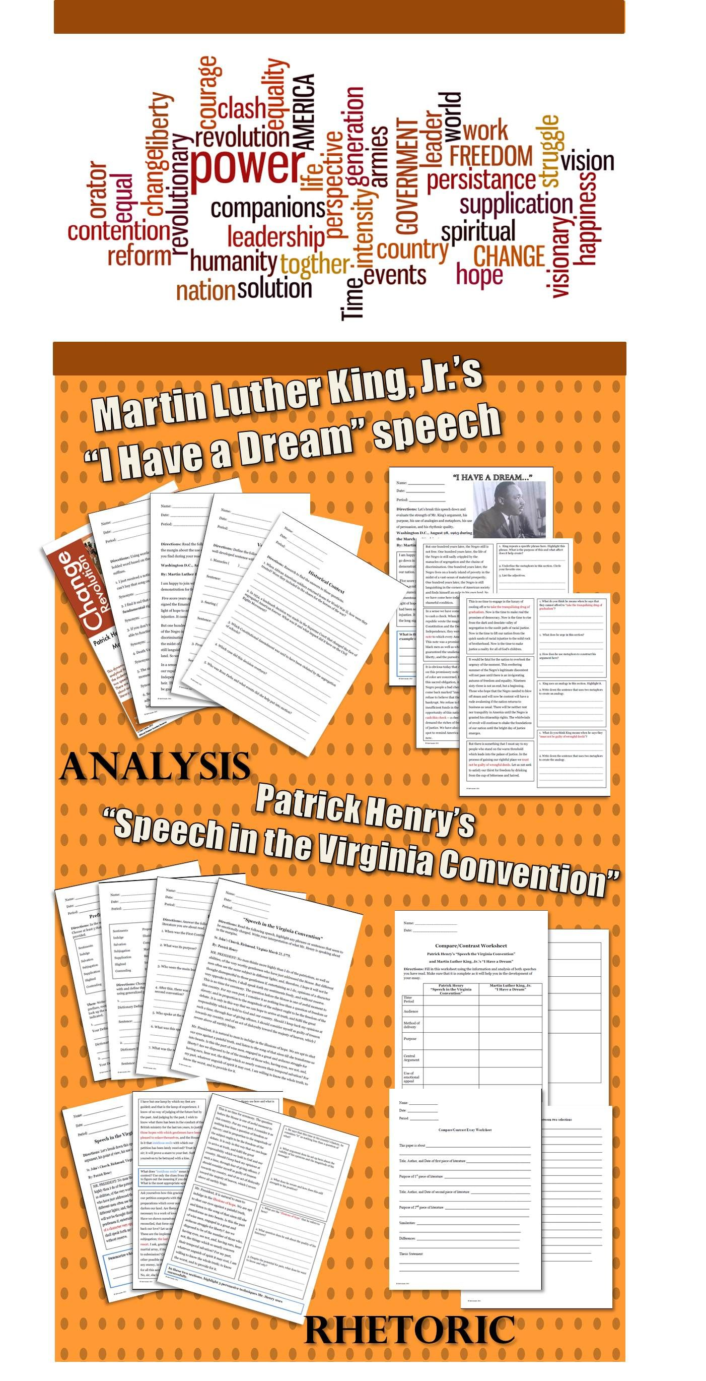 75 Page Unit On Martin Luther King Jr S I Have A Dream And Partick Henry S Speech In The