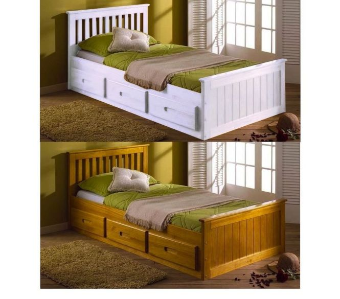 3ft Single Mission Storage Drawers Childrens Kids Bed White Pine Mattress Option