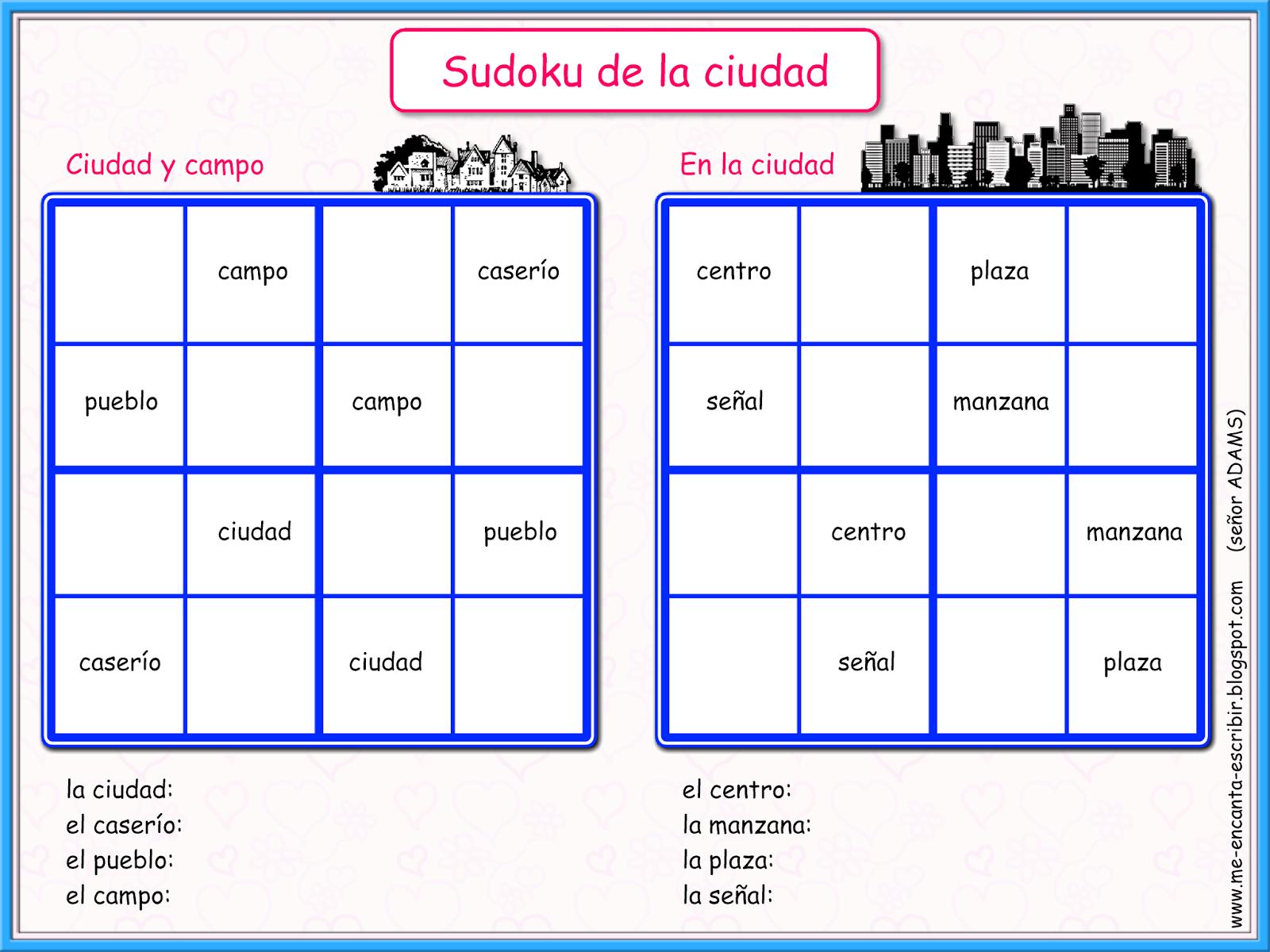 Me Encanta Escribir En Espanol Juegos De Sudoku La Ciudad O El Campo
