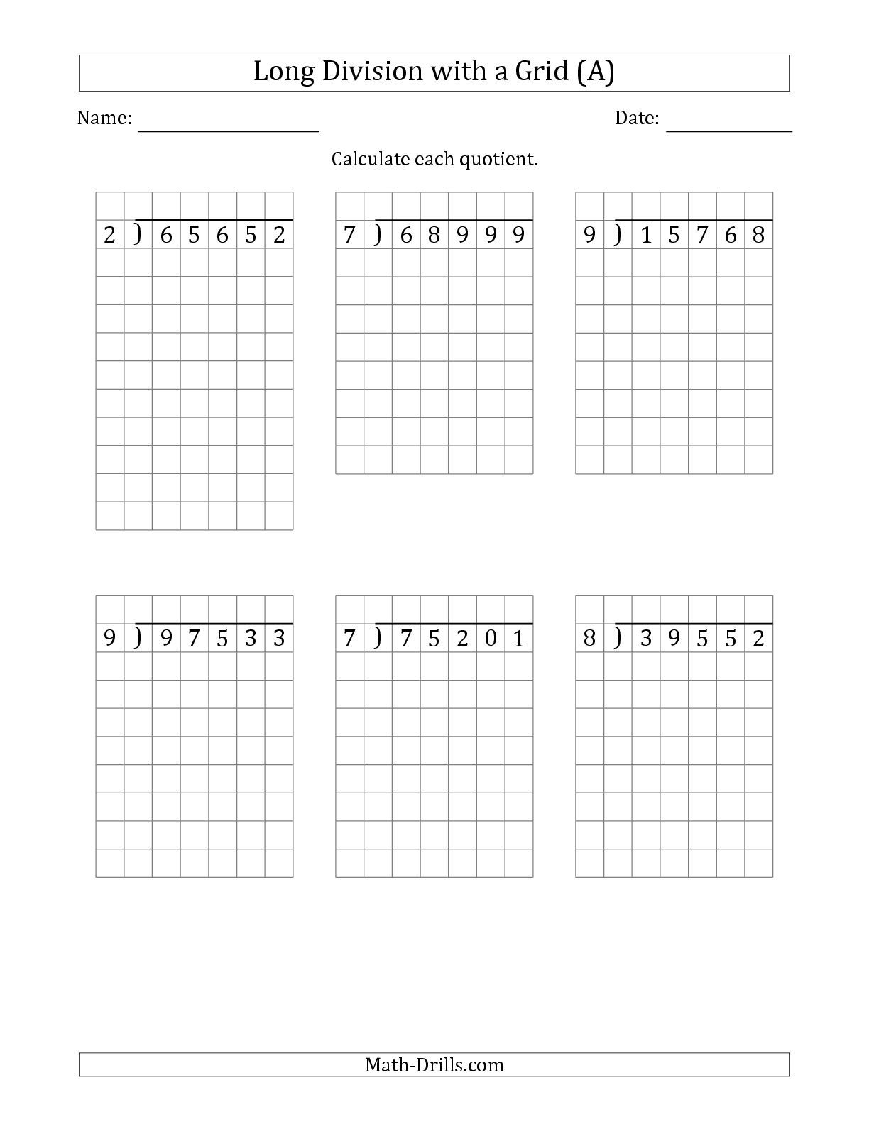 New Versions With No Remainders Including This One The 5 Digit By 1 Digit Long Division With