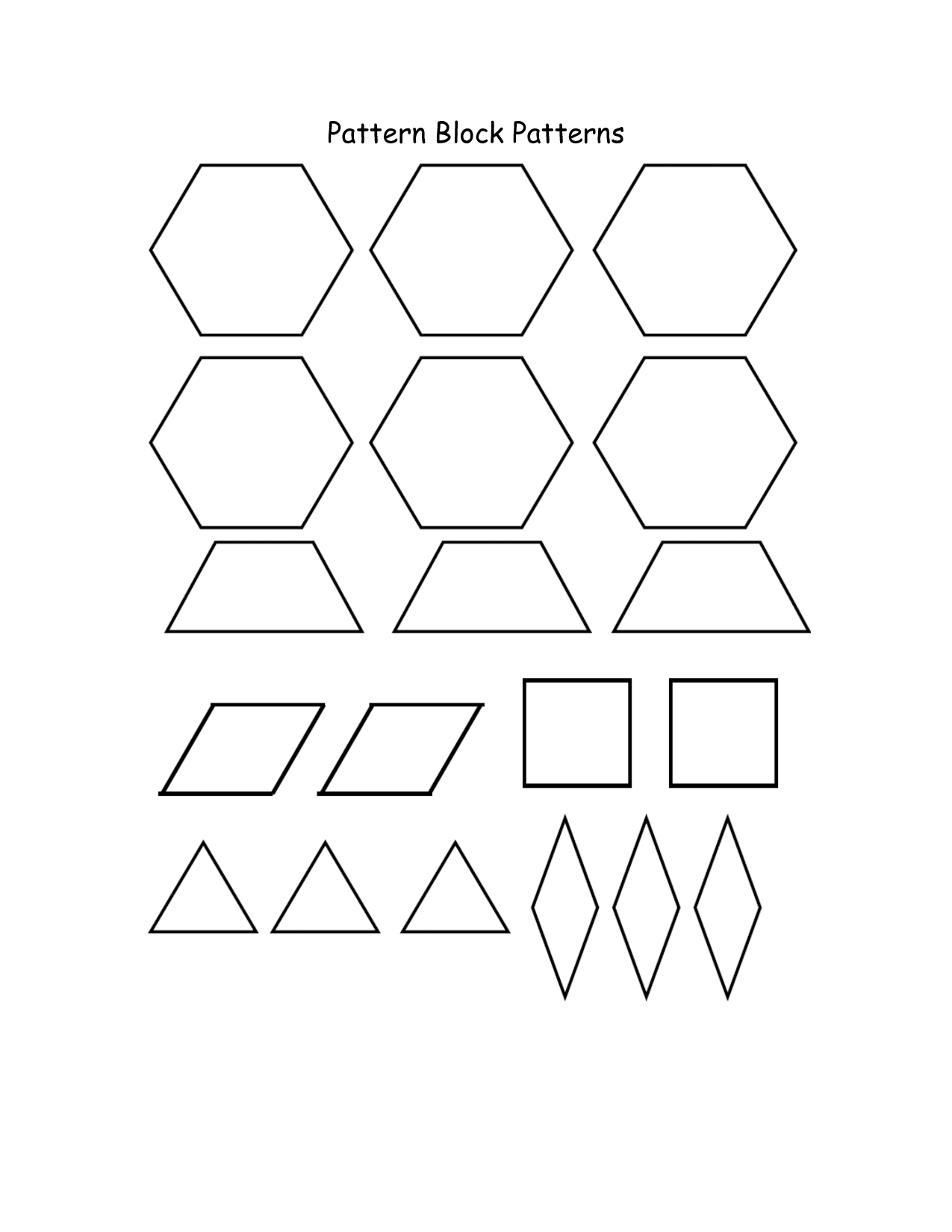 Pattern Block Blocks Coloring Printable Pages For Kids