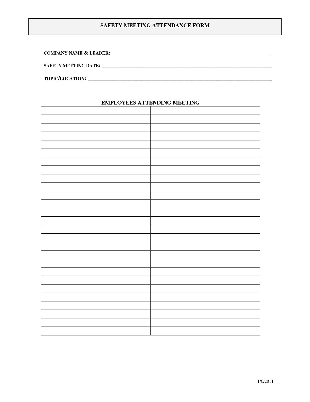 Osha Training Sign In Sheet