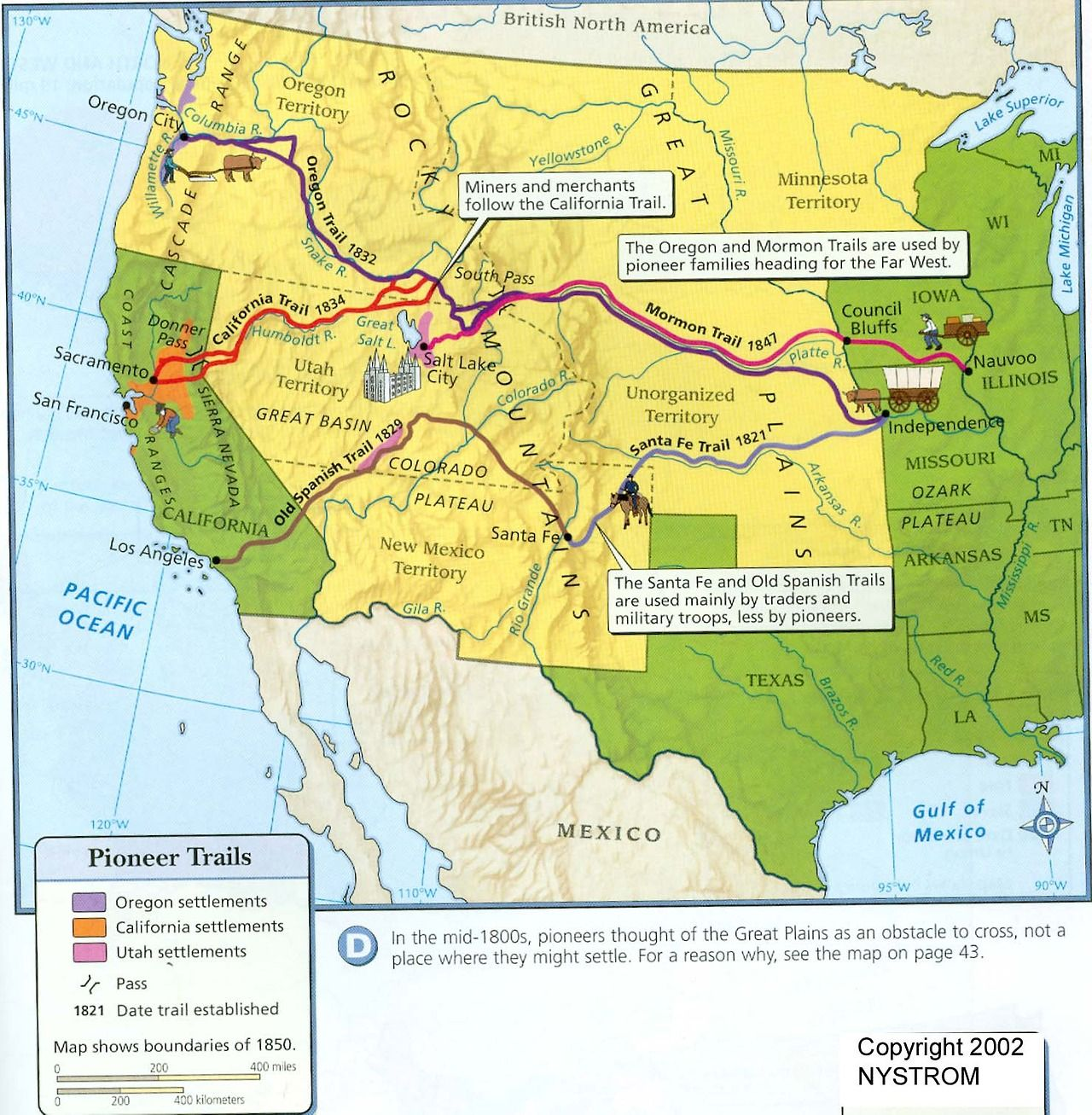 This Map Shows The Routes Of The Pioneer Trails By Which