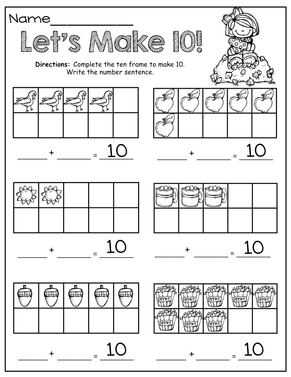 Christmas Ten Frame Kindergarten Worksheet