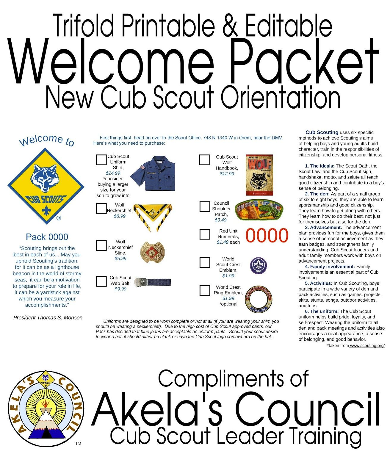 New Cub Scout Parent Pamphlet Editable Here Are Two
