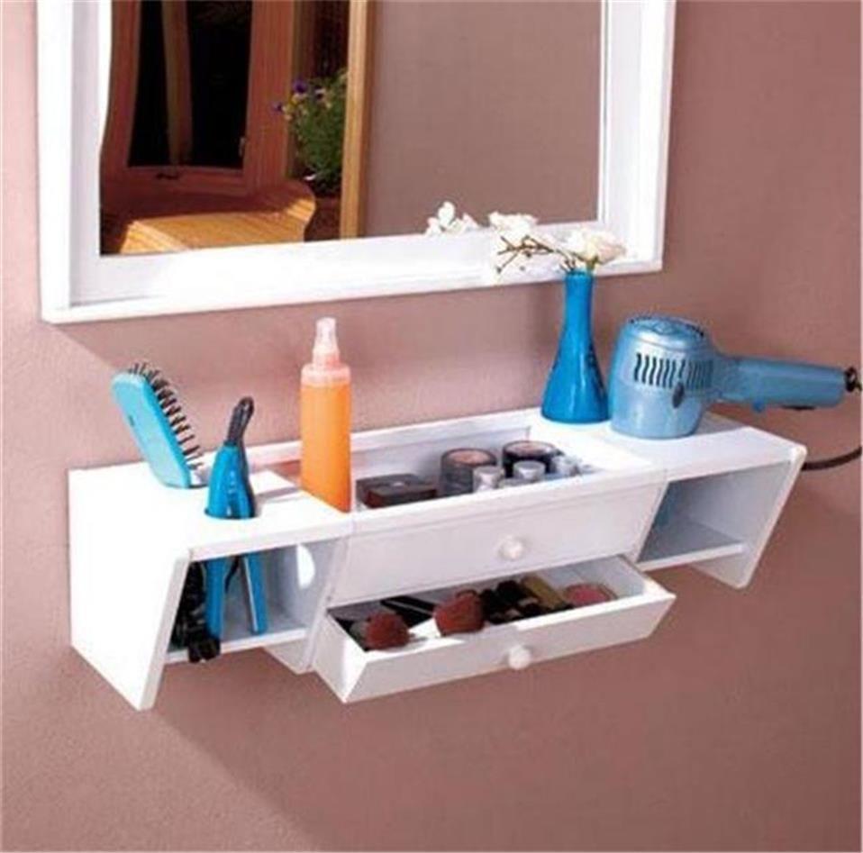 ready to hang wooden bathroom storage organizer vanity wall shelf