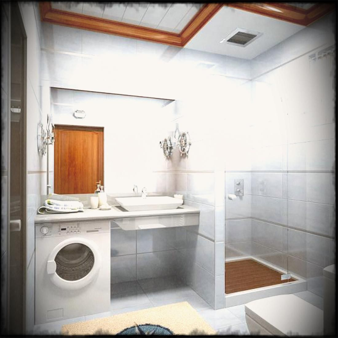 Small Bathroom Remodel With White Wash Machine Also Glass ... on Small Space Small Bathroom Ideas With Washing Machine id=42416