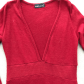 Gorgeous red knitted vneck dress long sleeves sparkle shoes