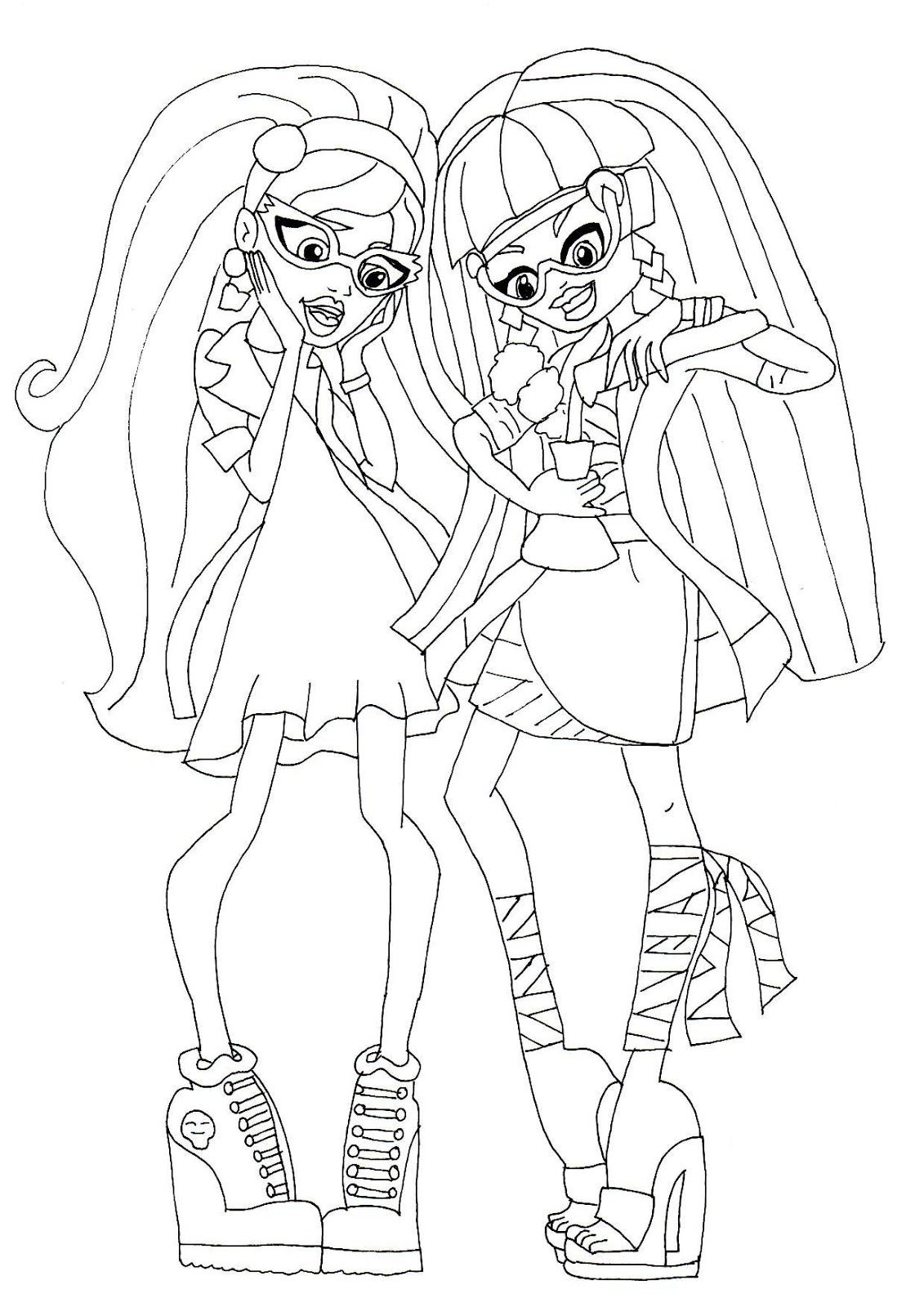 Cleo Amp Ghoulia Mad Science Coloring Sheet