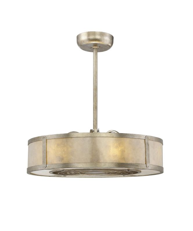 Ceiling Fan Chandelier Shown In Silver Dust Finish Cream Mica Glass And Organza Shade