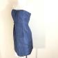J crew dress strapless blue silk pleated formal iridescent