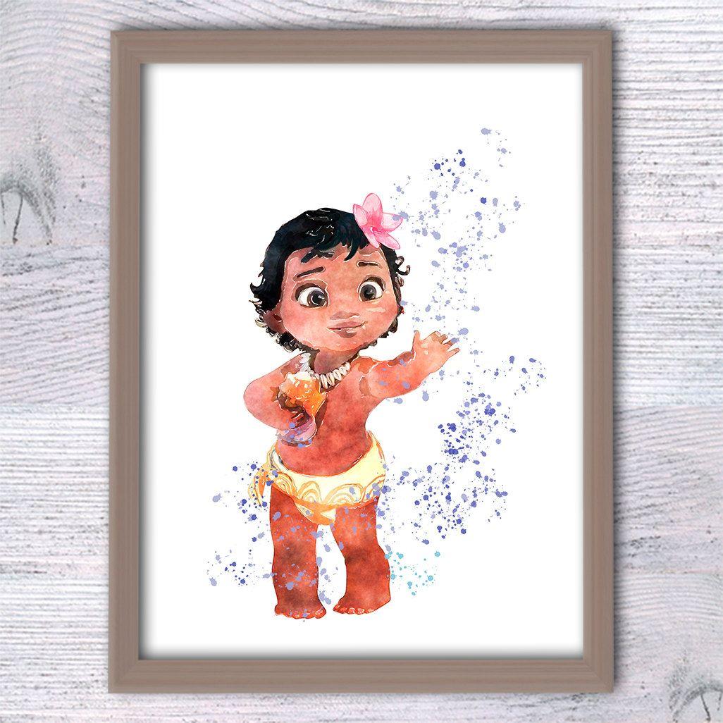 Disney Princess Moana Poster Baby Moana Art Print Girls