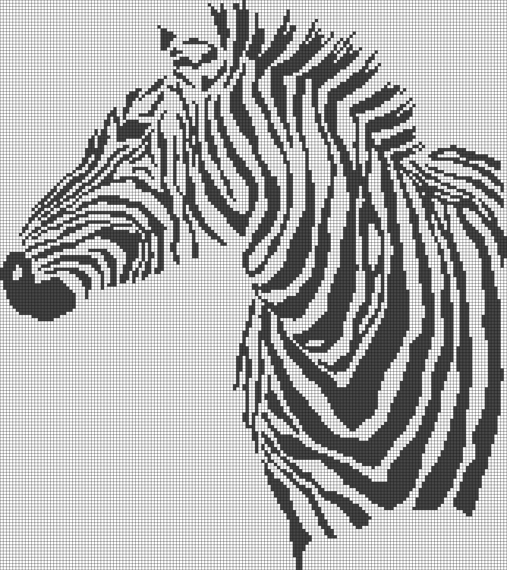 Zebra Pattern Chart For Cross Stitch Crochet Knitting