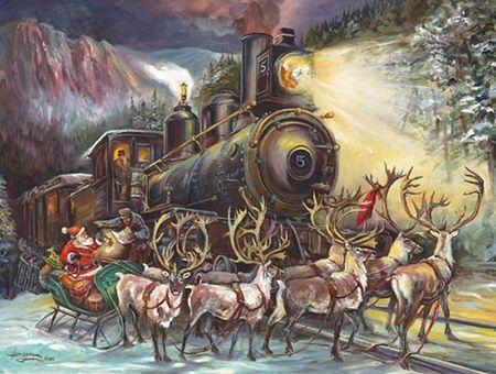 Santa Reindeer Amp Locomotive Wallpaper Xmas