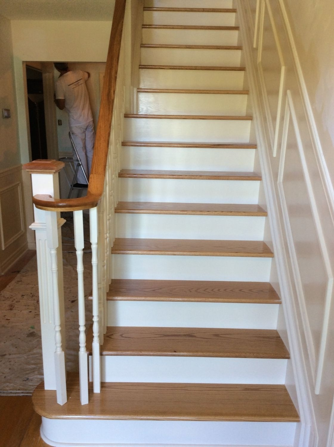 This Oak Staircase Is Straight Two Tone Natural Oak   Wood Stairs With White Risers