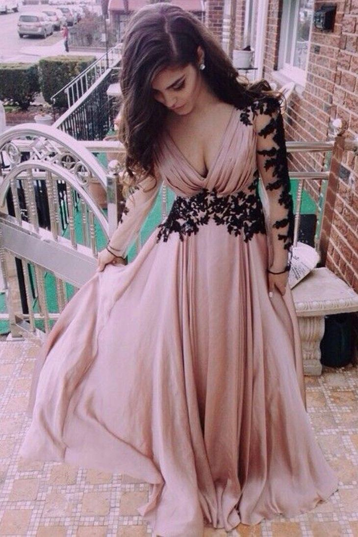 Hot Sale Cute Long Prom Dress Wedding Dress VNeck Long Sleeve Lace