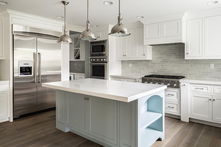 white kitchen cabinets with gray brick tile backsplash transitional kitchen white kitchen on kitchen ideas white and grey id=63590