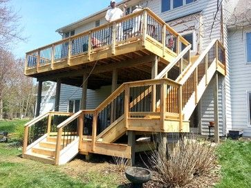 two story decks with stairs stair layout design ideas on steps in discovering the right covered deck ideas id=38869