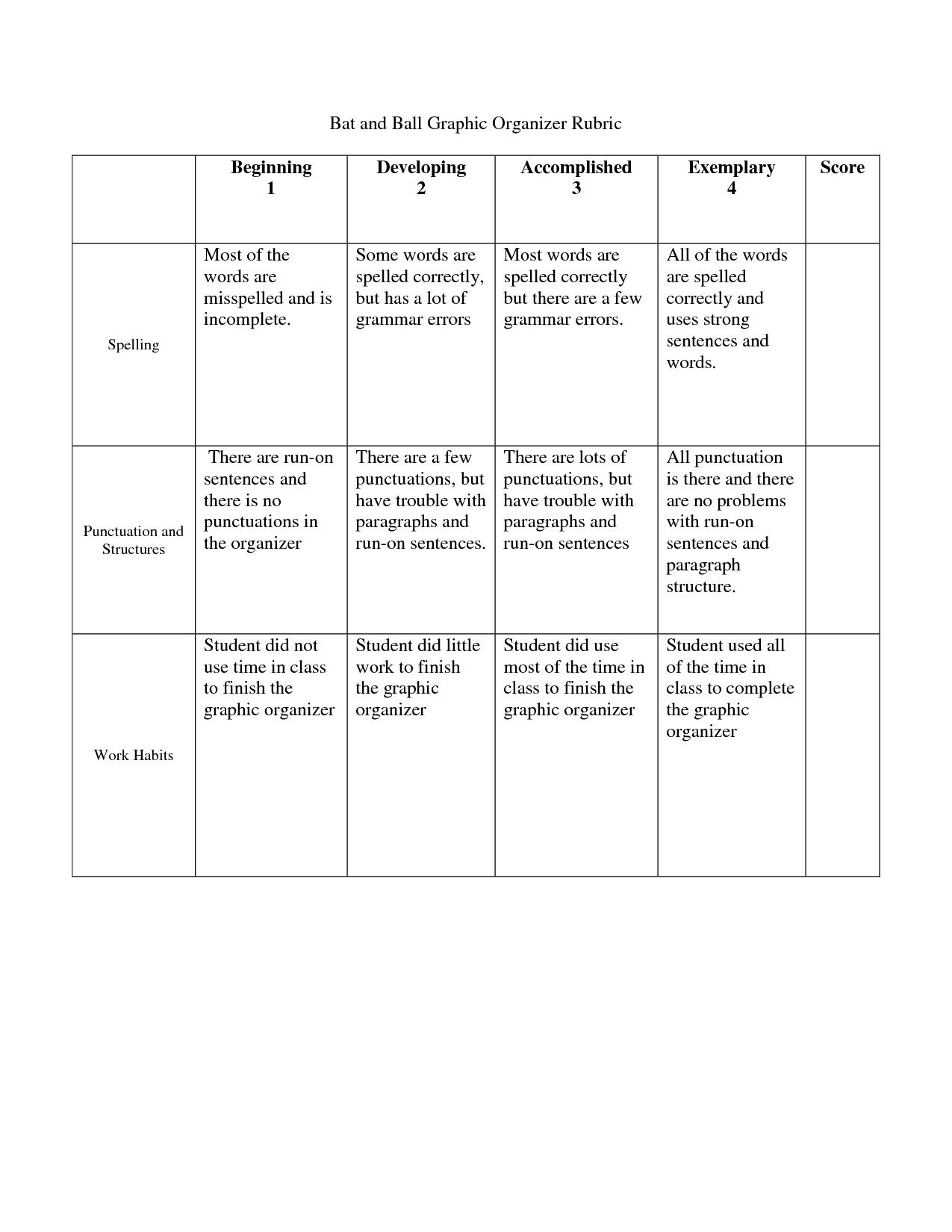First Grade Graphic Organizer Rubric