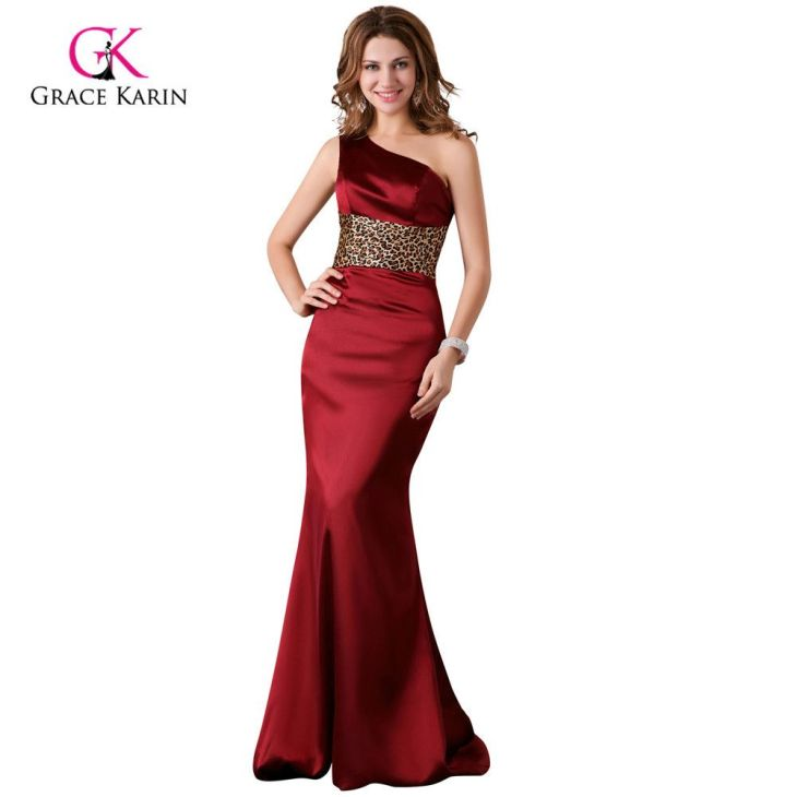 Click to Buy ucuc Women Elegant Satin Blue Burgundy red Prom Dresses
