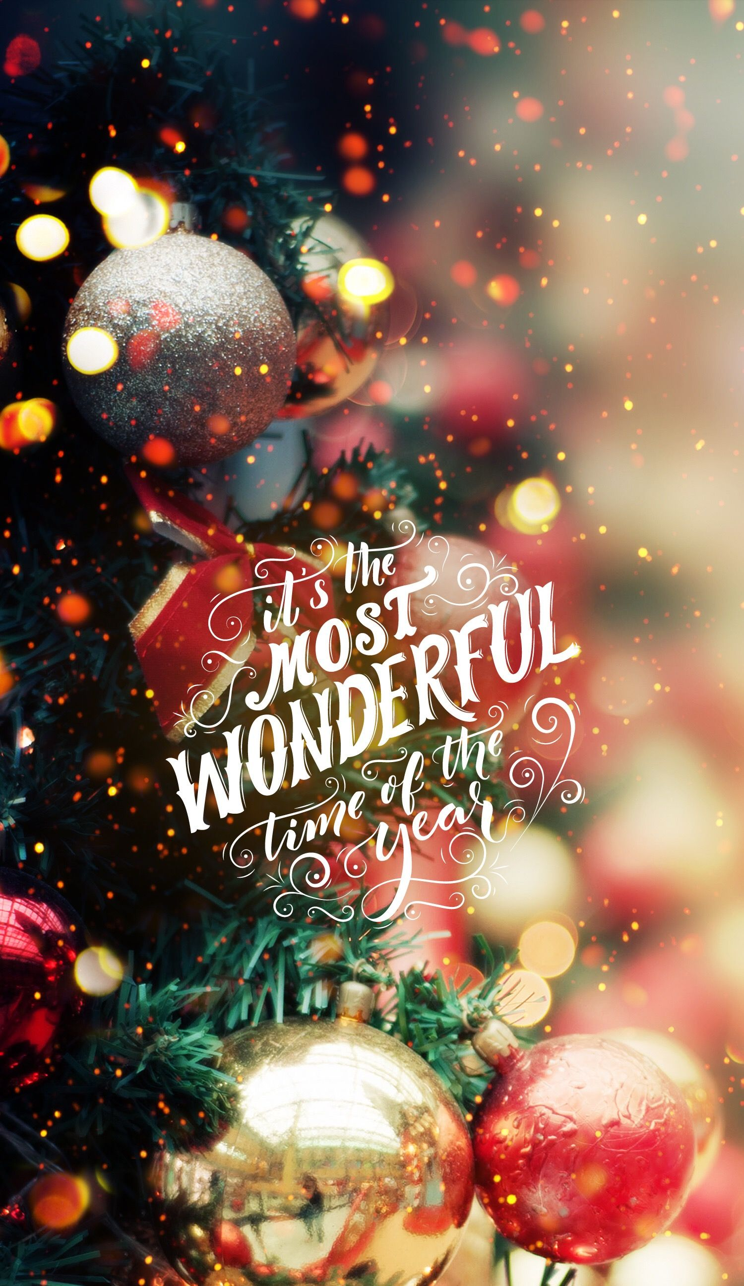 Save and set   ilustraciones   Pinterest   Wallpaper  Wonderful time     It s the most wonderful time of the year  Christmas iPhone android  cellphone lock screen wallpaper background  Christmas tree lights ornaments