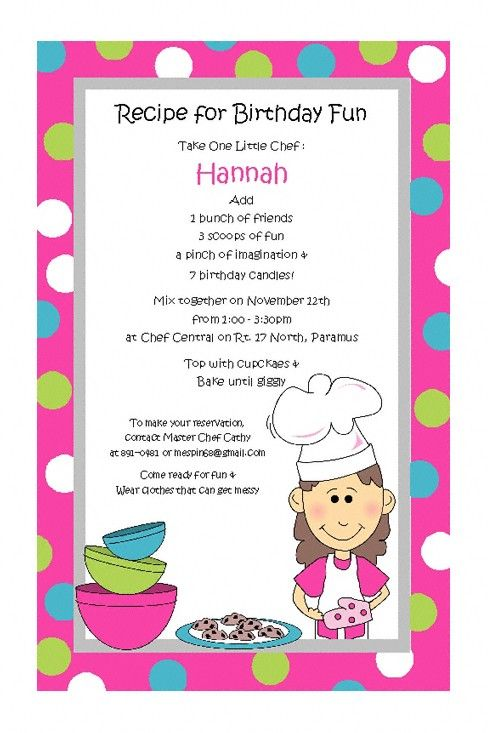 Baking Girl Invitations For Childrens Cooking Birthday